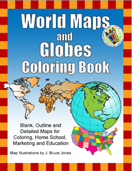 World Maps and Globes Coloring Book
