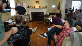 Bruce teaching at the Video Journalism Workshop