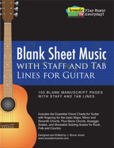 Blank Sheet Music with Staff and Tab Lines for Guitar