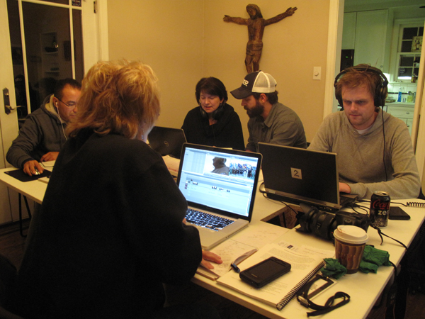 Video Journalism Workshop students editing their documentary projects