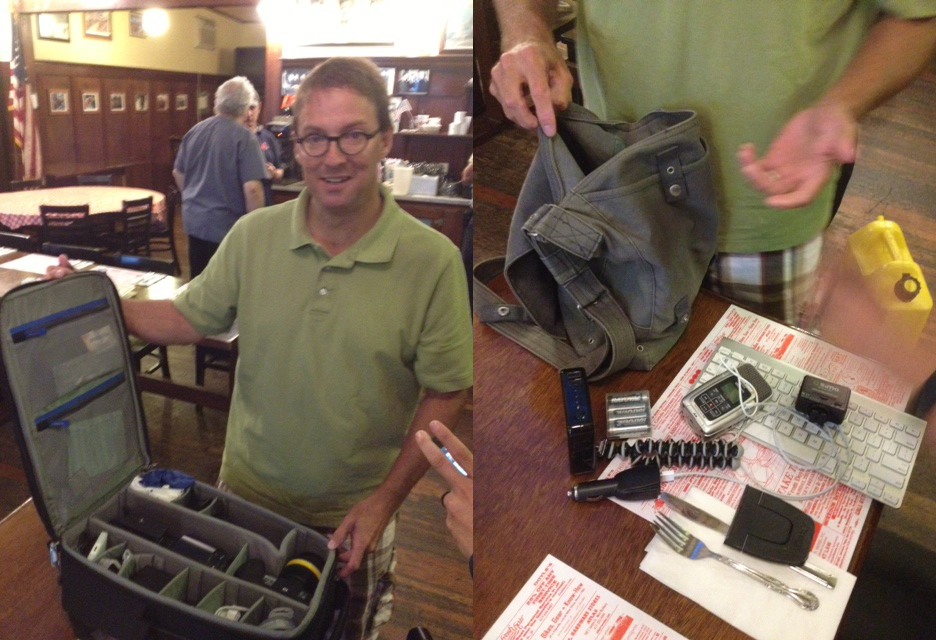 Jeff Cutler showing his big and small camera bags that he takes into the field
