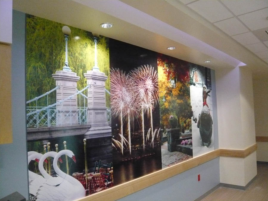 Boston focused wall graphic in the new MRI scanning room at Boston Medical Center