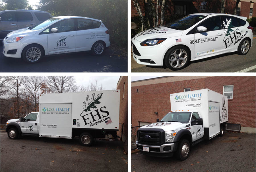 EHS Cars and a Thermal Truck with their logos, contact info, and tag lines.