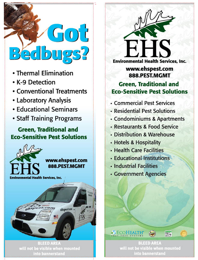 2 portable trade show banner displays for EHS Pest Solutions.