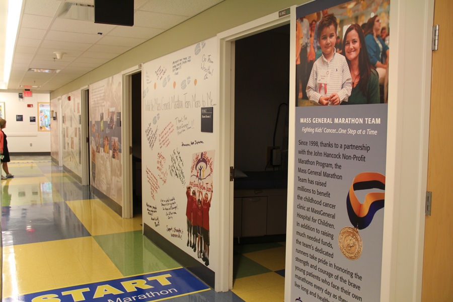 Mass General hallway Boston Marathon project, opening statement panel and Start graphic on the floor.