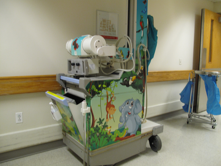 Kid theme portable X-Ray scanning machine. Jungle theme on the body and tower.