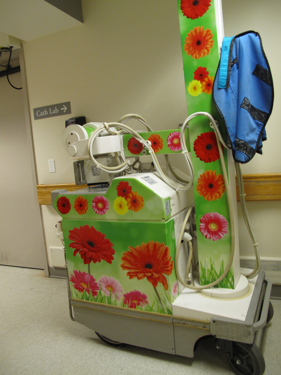 Portable X-Ray scanning machine with adult flower theme,