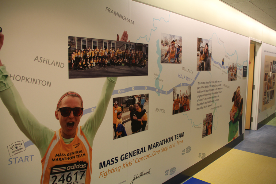 Marathon wall showing race course along with images of participants