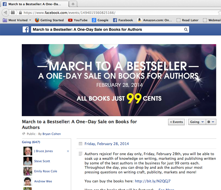 Facebook Event page for the March to a Bestseller Event