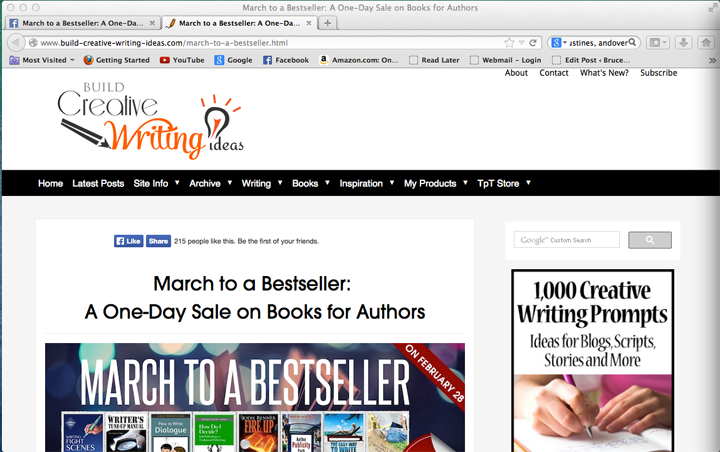 Website book page for the March to Bestseller event, each book links to Amazon