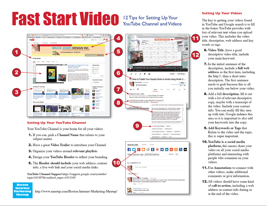 Fast Start Video, 12 Tips for Setting Up Your YouTube Channel and Videos, click the link above to download a pdf