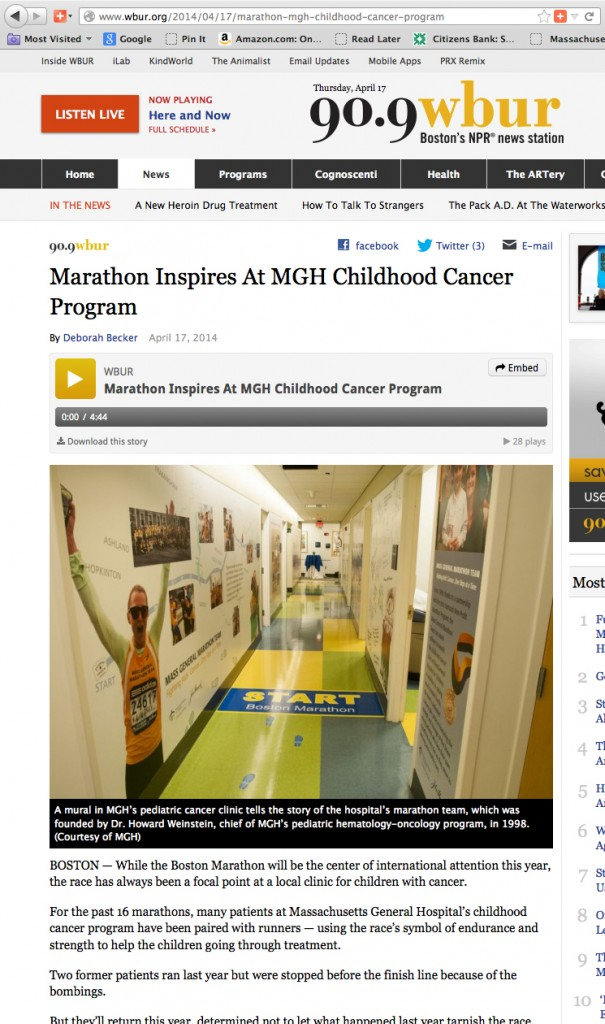 Marathon Inspires at MGH Childhood Cancer Program on WBUR.org