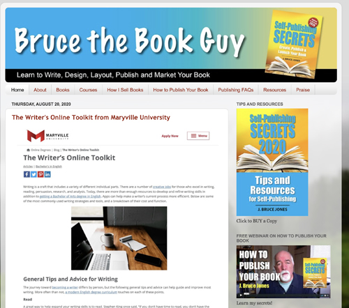 Bruce the book guy self-publishing website