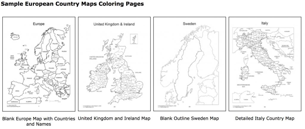 Blank Outline and Detailed european country maps sample