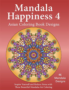 mandala Happiness 4, Adult Coloring Book Designs