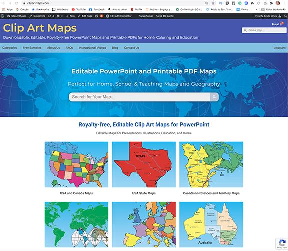 clipartmaps.com editable powerpoint maps for home, school and coloring