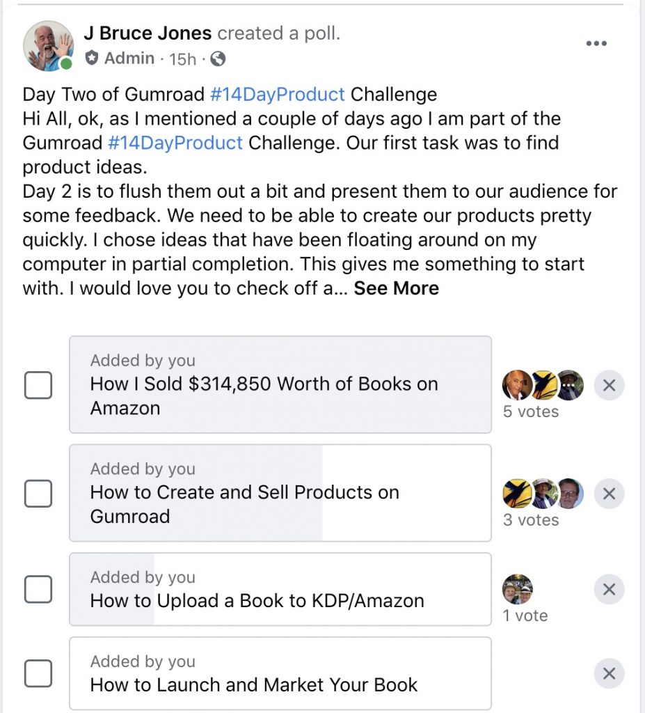 Gumroad challenge product ideas poll on Facebook