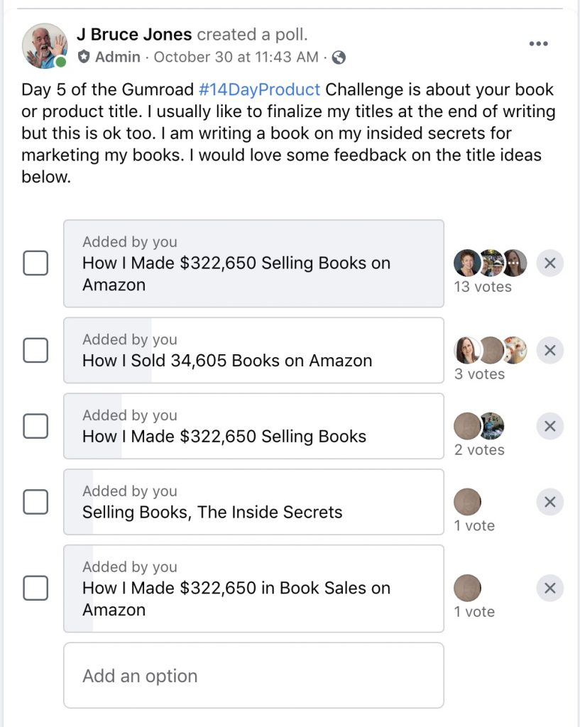 FB Poll for How I Made $322,650 selling my books on Amazon