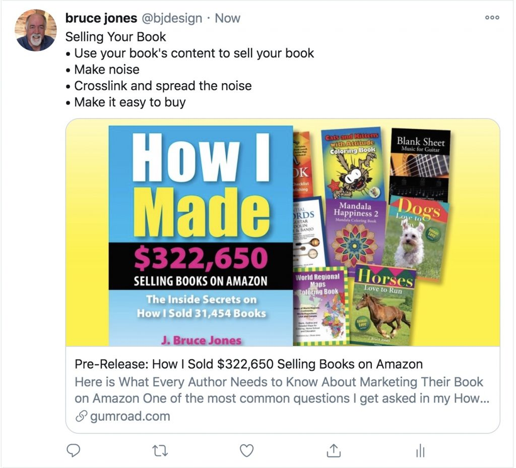 Selling your book on amazon, twitter post