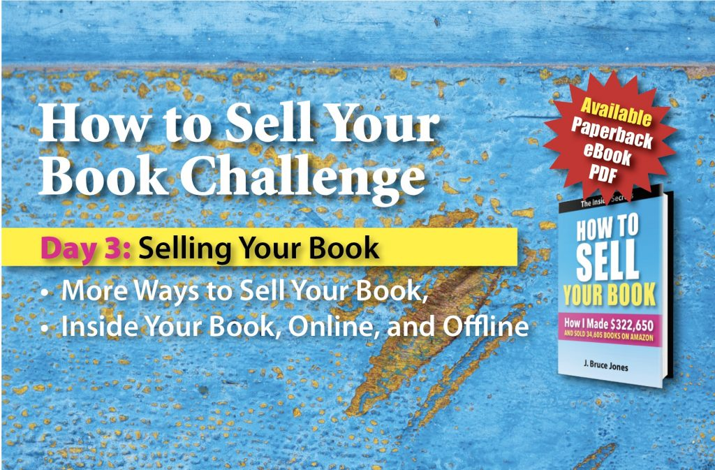 day 3, Selling your book, how to sell your book challenge