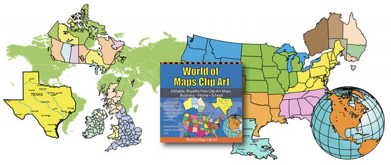 editable clip art maps with collection box, powerpoint, adobe illustrator