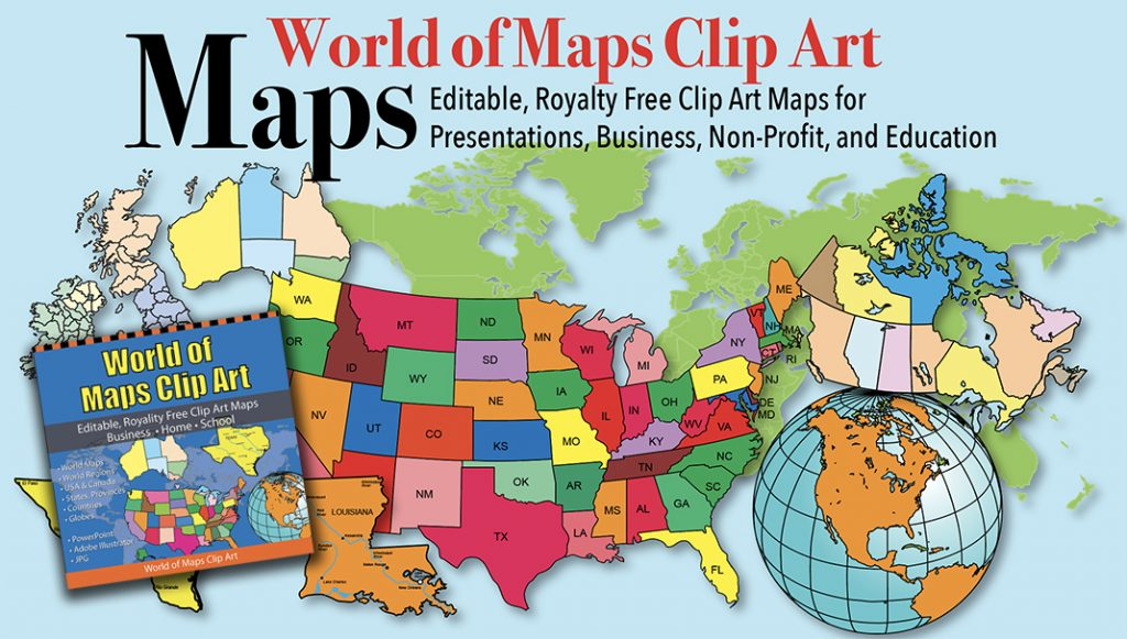 World of maps Clipart with box graphic